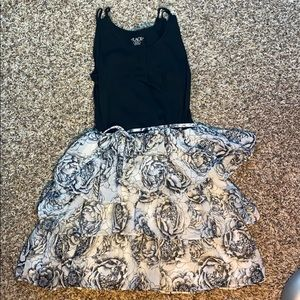 Children's Place Black and White Rose Dress